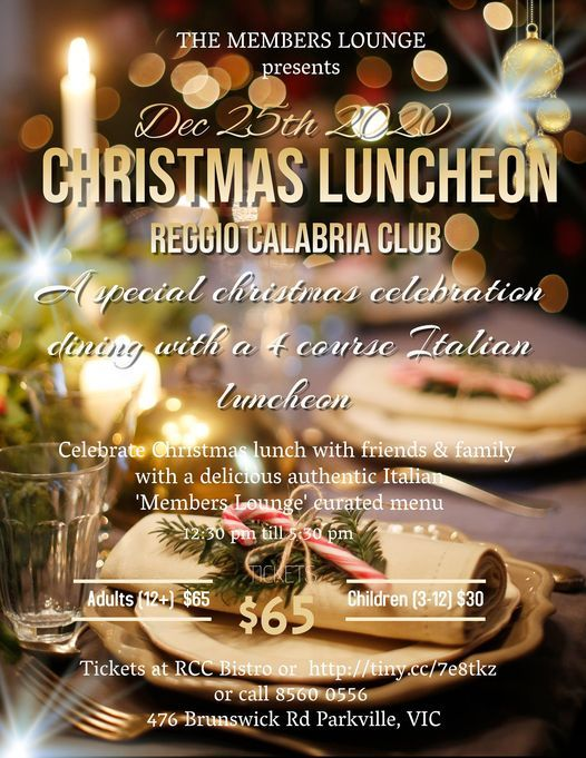 Christmas Luncheon 2020 Christmas Luncheon 2020 presented by The Members Lounge, The