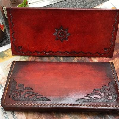 Leather Clutch Purse - Inverted Carving  Stamping