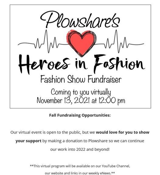 Plowshare's Heroes in Fashion, Fashion Show Fundraiser, 13 November | Online Event | AllEvents.in