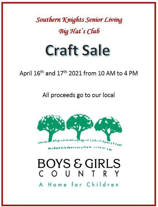 Southern Knights Senior Living Craft Sale, 16 April   Event in Tomball   AllEvents.in