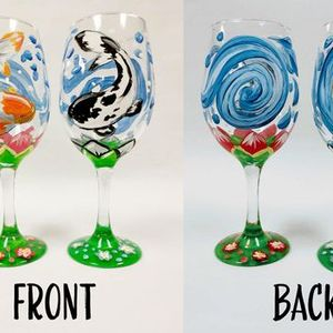 Colorful Koi Wine Glass Painting Set Virtual or In Studio