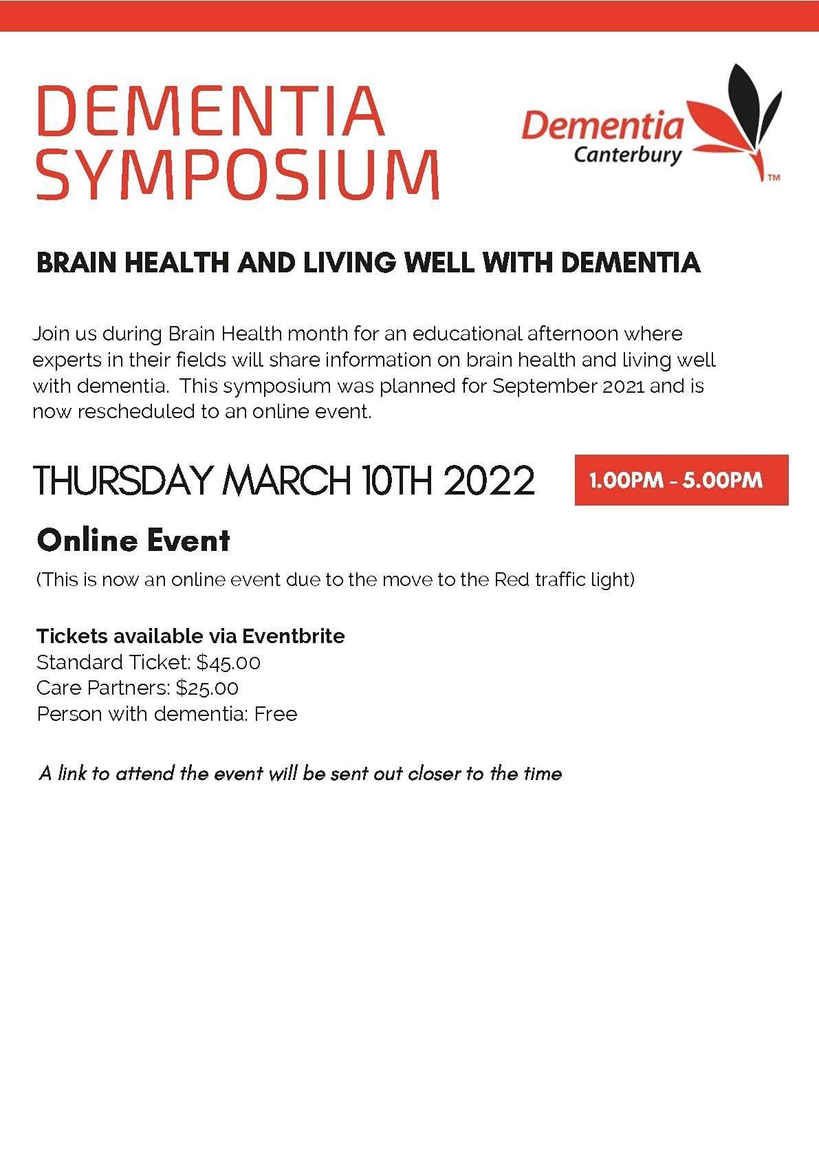 Dementia Symposium, 10 March   Event in Christchurch   AllEvents.in