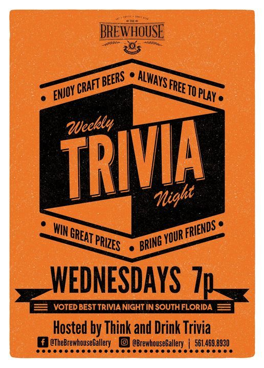 Think & Drink Trivia at The Brewhouse Gallery! | Event in Lake Park | AllEvents.in