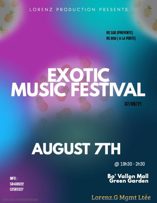 EXOTIC Music Festival, 7 August | Event in Port Louis | AllEvents.in