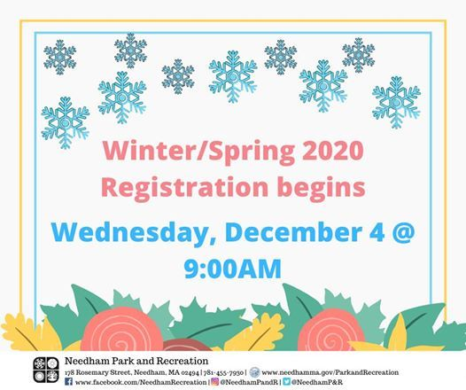 Spring Begins 2020.Winter Spring 2020 Registration At Town Of Needham Park
