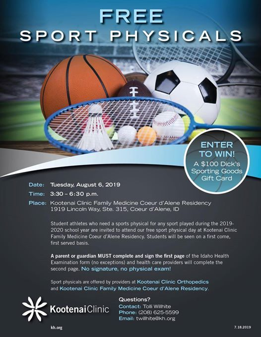 sports physical form idaho  Free Physicals 11-11-11 at Post Falls High School Athletics ...