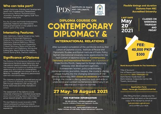 ONLINE- Diploma Course on Contemporary Diplomacy and International Relations, 27 May | Event in Islamabad
