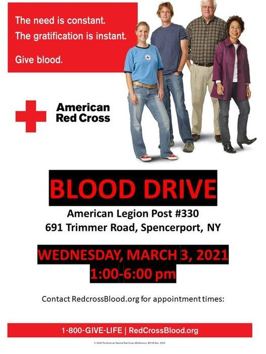 Red Cross Blood Drive, 3 March | Event in Spencerport | AllEvents.in
