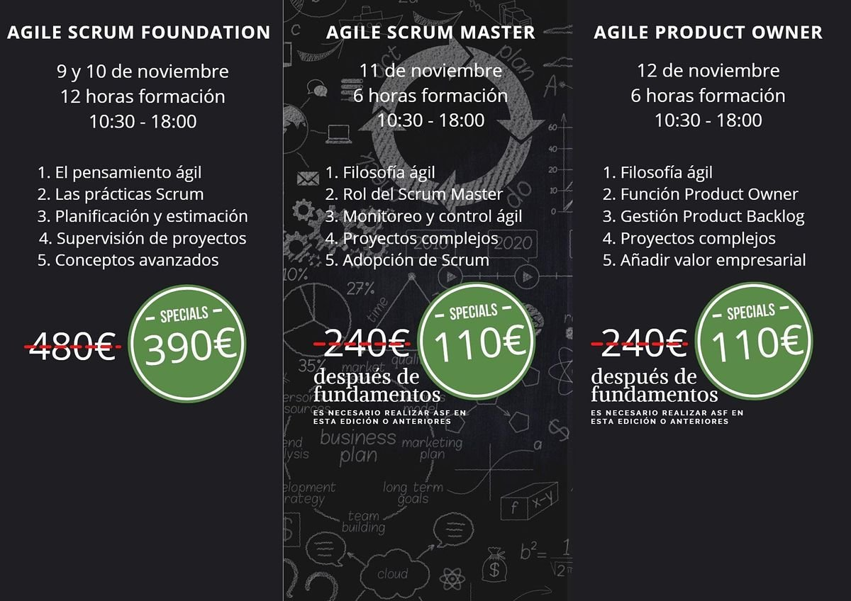 Cursos Agile Scrum Foundation - Scrum Master - Product Owner - Barcelona, 9 November | Event in Barcelona