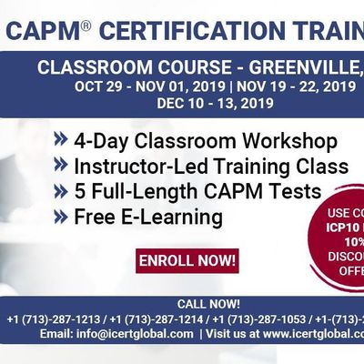 CAPM Certified Associate in Project Management Certification Exam Prep Training Course in Greenville SC.